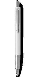 Parker Vector White Ballpoint Pen, Chrome Colour Trim, Medium Tip, Blue Ink