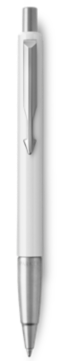 Parker Vector White Ballpoint Pen, Chrome Colour Trim, Medium Tip, Blue Ink