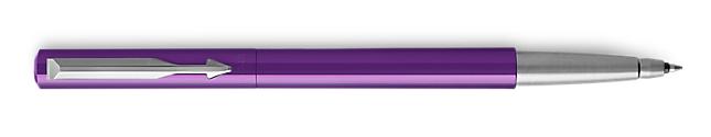 Parker Vector Purple Roller Ball, Chrome Colour Trim, Medium Tip, Blue Ink