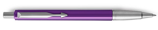 Parker Vector Purple Ballpoint Pen, Chrome Colour Trim, Medium Tip, Blue Ink