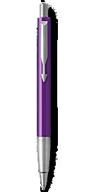 Parker Vector Purple Ballpoint Pen, Chrome Colour Trim, Medium Tip, Blue Ink