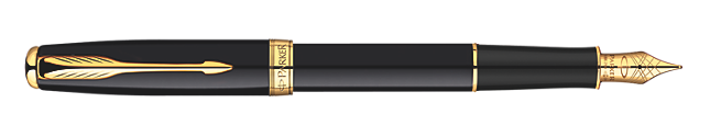 Sonnet Deep Black Lacquer Fountain Pen - Fine 23k gold plated nib
