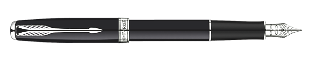 Sonnet Deep Black Lacquer Fountain Pen - Fine stainless steel nib
