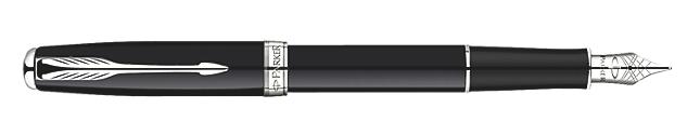Sonnet Deep Black Lacquer Fountain Pen - Medium stainless steel nib