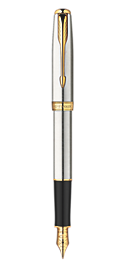 Sonnet Stainless Steel Fountain Pen - Fine 23k gold plated nib