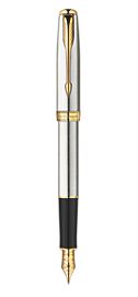 Sonnet Stainless Steel Fountain Pen - Medium 23k gold plated nib