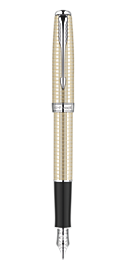 Sonnet Cisel&eacute Silver Fountain Pen - Medium 18K gold nib