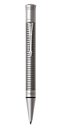 Duofold Prestige Ruthenium Plated  Retractable Ballpoint Pen With Chiselled Pattern & Chrome Trim Medium Point