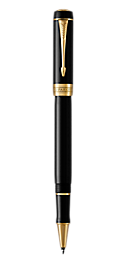 Duofold Classic Black Rollerball Pen With Gold Trim Fine Point