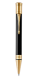 Duofold Classic Black Retractable Ballpoint Pen With Gold Trim Medium Point