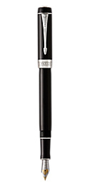 Duofold Classic Black Fountain Pen With Chrome Trim Medium Nib