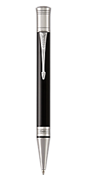 Duofold Classic Black Retractable Ballpoint Pen With Chrome Trim Medium Point