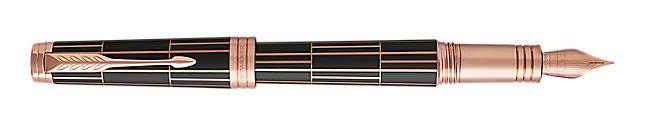 Premier Luxury Brown Fountain Pen With Pink Gold Trim Fine Nib