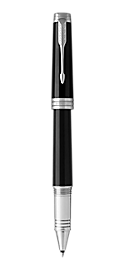 Premier Lacquered Black Rollerball Pen With Chrome Trim Fine Point