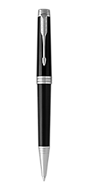 Premier Lacquered Black Retractable Ballpoint Pen With Chrome Trim Medium Point