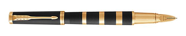 Ingenuity Black Rubber & Metal Parker 5THTM Pen With Gold Trim