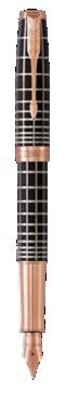 卓尔巧克力格子纹玫瑰金夹墨水笔