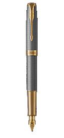 Sonnet Silver Fountain Pen With Ciselé Pattern & Gold Trim Medium Nib