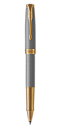 Sonnet Silver Rollerball Pen With Ciselé Pattern & Gold Trim Fine Point