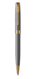 Sonnet Silver Retractable Ballpoint Pen With Ciselé Pattern & Gold Trim Medium Point