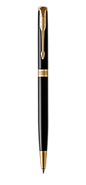 Sonnet Lacquered Black Retractable Ballpoint Pen With Gold Trim Medium Point