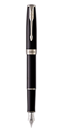 Sonnet Lacquered Black Fountain Pen With Chrome Trim Fine Nib