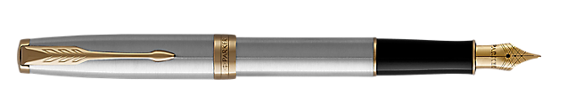 Sonnet Stainless Steel Fountain Pen With Gold Trim Fine Nib