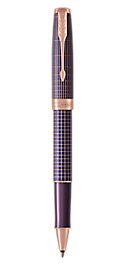 Sonnet Silver & Purple Rollerball Pen With Ciselé Matrix Pattern & Pink Gold Trim Fine Point