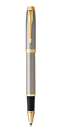 IM Brushed Metal Rollerball Pen With Gold Trim Fine Point