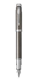 IM Premium Chiselled Dark Espresso Fountain Pen With Chrome Trim Medium Nib