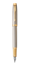 IM Premium Warm Silver Gold Fountain Pen With Gold Trim Medium Nib