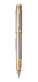 IM Premium Warm Silver Gold Fountain Pen With Gold Trim Medium Nib