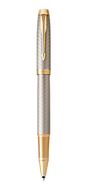 IM Premium Warm Silver Gold Rollerball Pen With Gold Trim Fine Point