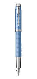 IM Premium Blue Fountain Pen With Chrome Trim Medium Nib