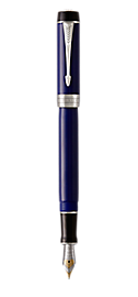Duofold Classic Black & Blue Fountain Pen With Chrome Trim Fine Nib