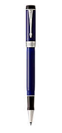 Duofold Classic Black & Blue Rollerball Pen With Chrome Trim Fine Point