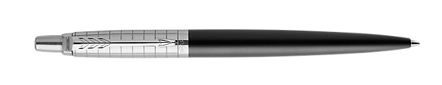 Jotter Premium Bond Street Black Retractable Ballpoint Pen With Grid Pattern & Chrome Trim Medium Point