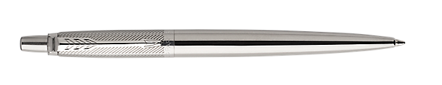 Jotter Premium Stainless Steel Retractable Ballpoint Pen With Diagonal Pattern & Chrome Trim Medium Point
