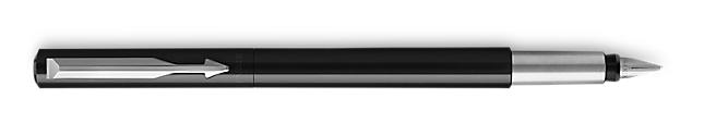 Parker Vector Black Fountain Pen, Chrome Colour Trim, Fine Nib, Blue Ink