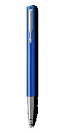 Parker Vector Blue Roller Ball, Chrome Colour Trim, Medium Tip, Blue Ink