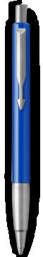 Parker Vector Blue Ballpoint Pen, Chrome Colour Trim, Medium Tip, Blue Ink