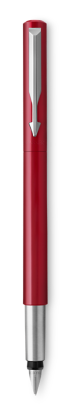 Image for Parker Vector Red Fountain Pen, Chrome Colour Trim, Fine Nib, Blue Ink from Parker UK