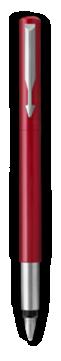 Parker Vector Red Fountain Pen, Chrome Colour Trim, Fine Nib, Blue Ink