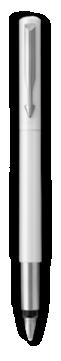 Parker Vector White Fountain Pen, Chrome Colour Trim, Fine Nib, Blue Ink