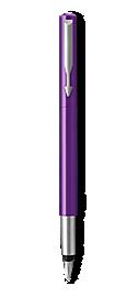 Parker Vector Purple Fountain Pen, Chrome Colour Trim, Fine Nib, Blue Ink