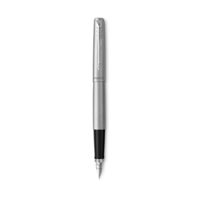 派克乔特钢杆白夹墨水笔,细笔尖