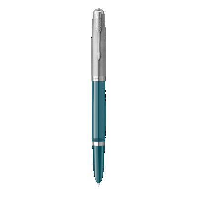 PARKER 51 Teal Blue Resin Chrome Trim Fountain Pen