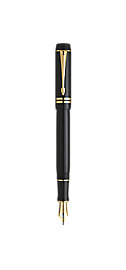 Duofold Black Fountain Pen - Fine 18K gold nib