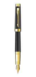 Premier Deep Black Lacquer Fountain Pen - Fine 18K gold nib
