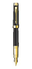 Premier Deep Black Lacquer Fountain Pen - Medium 18K gold nib